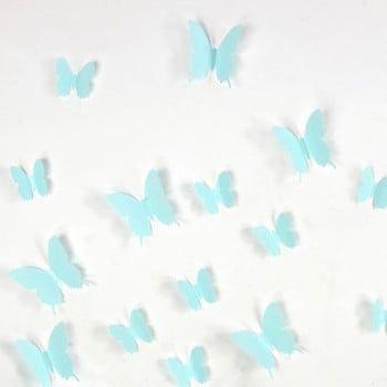 Set 12 autocolante 3D Ambiance Butterflies turcoaz