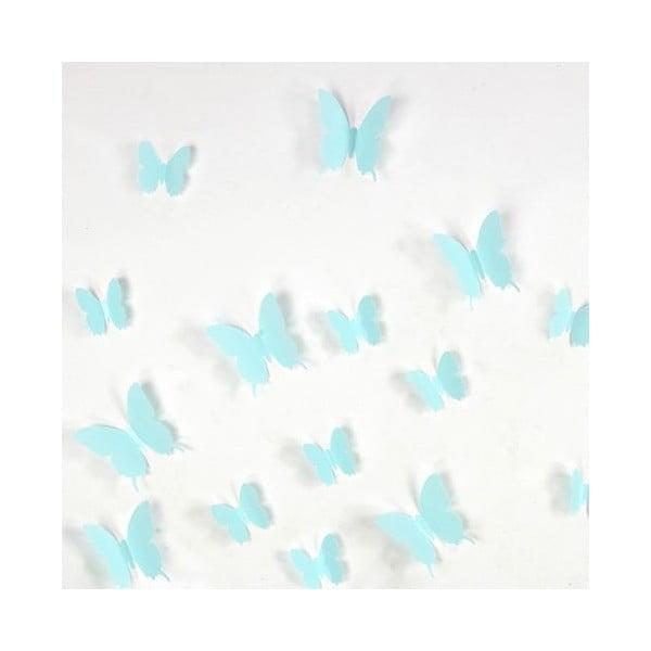 Zestaw 12 turkusowych naklejek elektrostatycznych 3D Ambiance Turquoise Butterflies