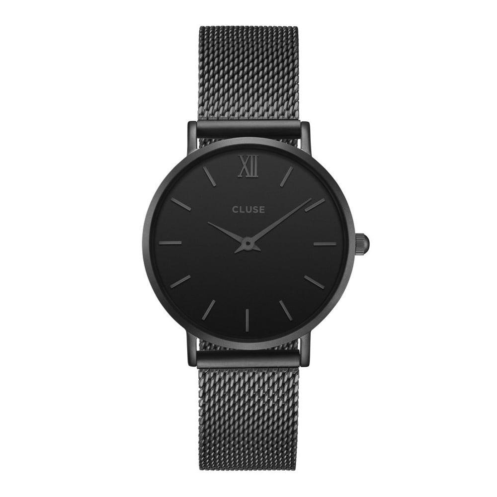 Dámské černé hodinky z nerezové oceli Cluse Minuit  641799071f