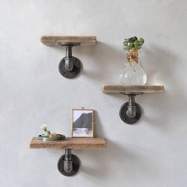 Sada 3 dřevěných nástěnných polic s kovovým potrubím Frida