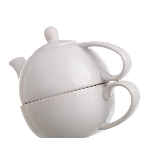 Set bílé kameninové konvičky a šálku Unimasa Tea