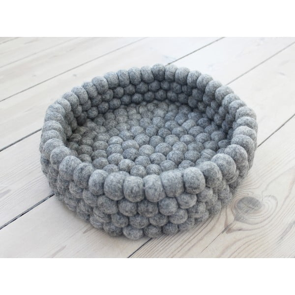 Oceľovosivý guľôčkový vlnený úložný košík Wooldot Ball Basket, ⌀ 28 cm