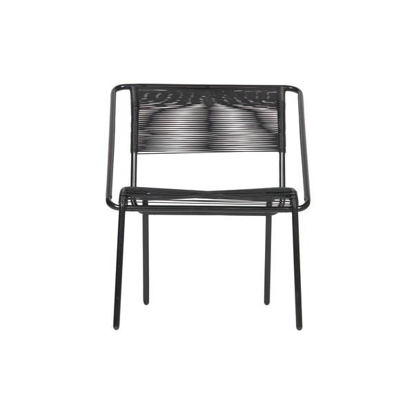 Černá židle z plastového ratanu vhodná i do exteriéru BePureHome Wisp