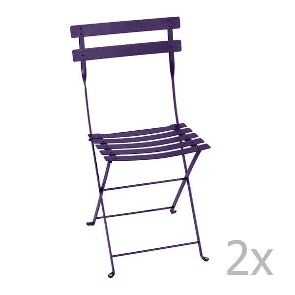 Sada 2 fialových skládacích židlí Fermob Bistro