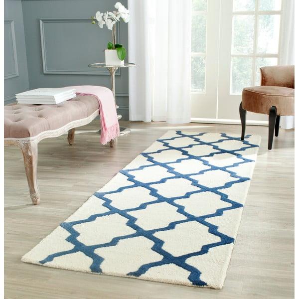 Vlněný koberec Ava 76x243 cm, bílý/modrý
