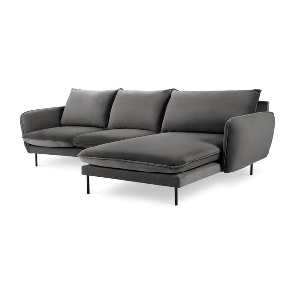 Ciemnoszara narożna aksamitna sofa prawostronna Cosmopolitan Design Vienna