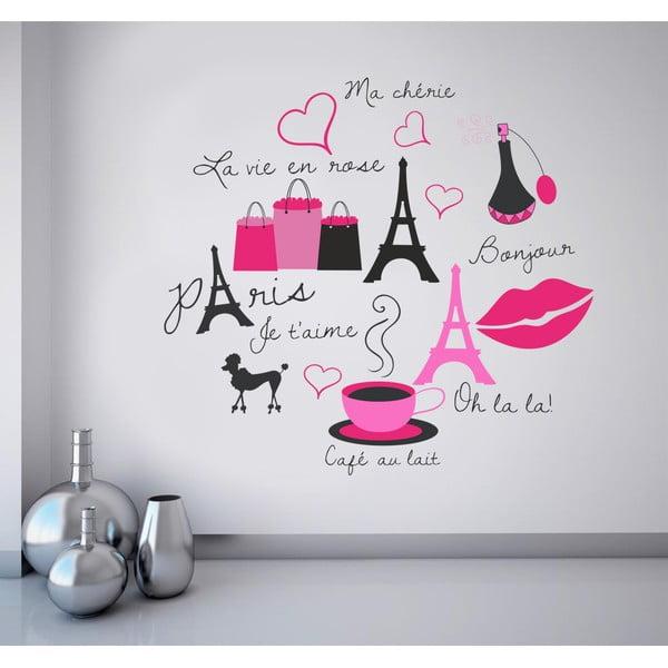 Samolepka na stěnu Symboly Paříže, 60x90 cm