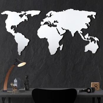 Decorațiune din metal pentru perete White Map, 60 x 120 cm imagine