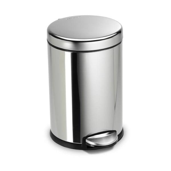Stříbrný lesklý pedálový koš simplehuman, 4.5 l