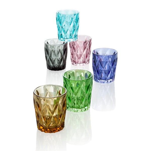 Sada 6 barevných skleniček Brandani Diamante