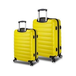 Sada 2 žlutých cestovních kufrů na kolečkách s USB porty My Valice RESSNO Cabin & Medium