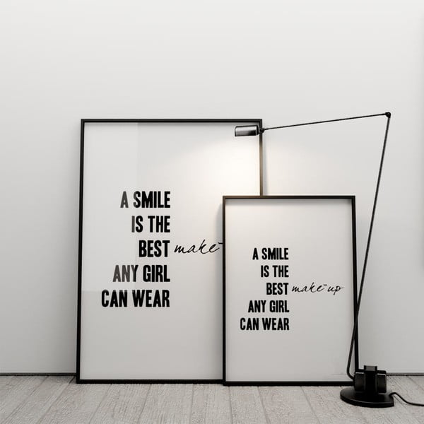 Plakát A smile is the best make up any girl can wear, 50x70 cm