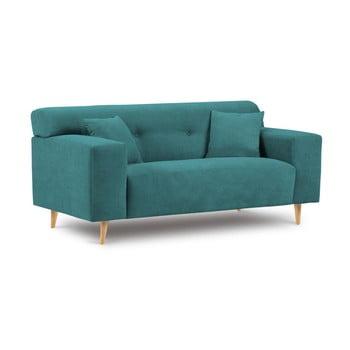 Canapea cu 2 locuri Kooko Home Twist verde turcoaz