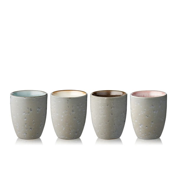 Set 4 pahare termo din gresie ceramică Bitz Basics Grey Cream, 270 ml, gri - bej
