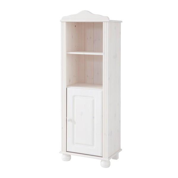 Ella fehér, tömör fenyőfa könyvespolc ajtóval - Støraa