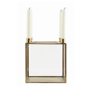 Svícen Square Brass, 20x22 cm