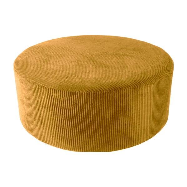 Žltý menčestrový puf Leitmotiv Glam, 90×35cm