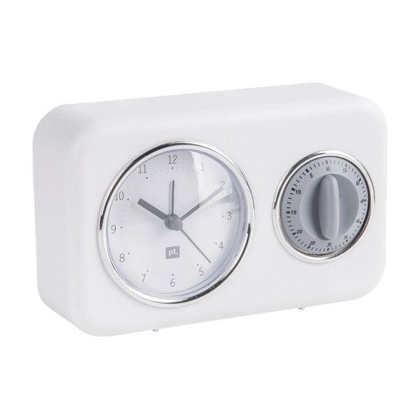 Bílé stolní hodiny s kuchyňskou minutkou PT LIVING Nostalgia