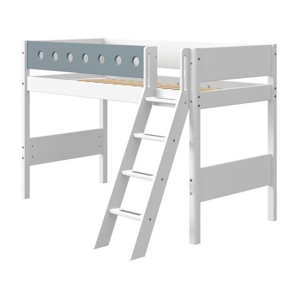 Modro-biela detská posteľ s rebríkom Flexa White, výška 143 cm