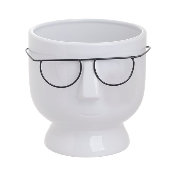 Biela keramická váza InArt Face, výška 16 cm