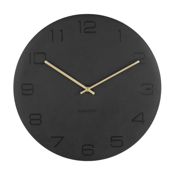 Czarny zegar ścienny Karlsson Vigorous, ⌀40 cm