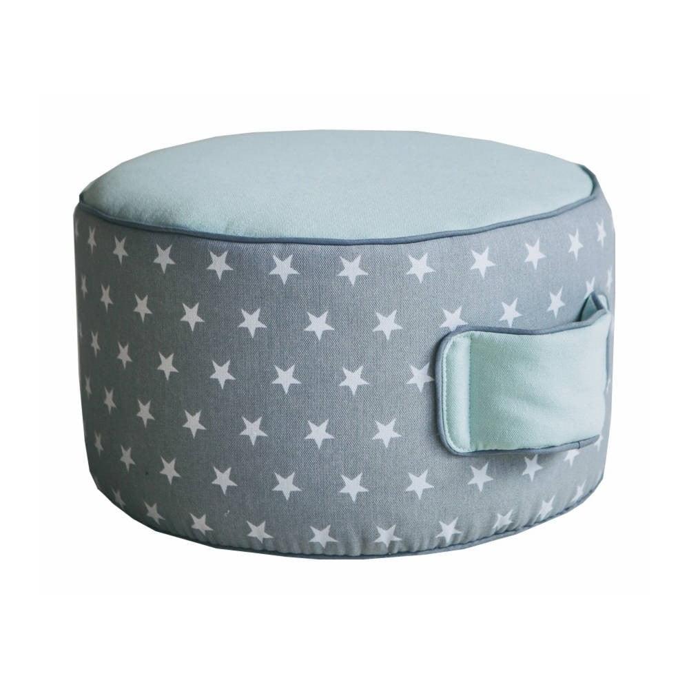 Dětský bavlněný puf v mintové barvě VIGVAM Design Stars, ⌀ 35 cm