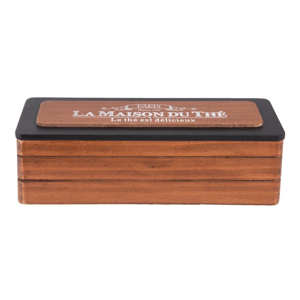 Dřevěný box na čaj Clayre & Eef