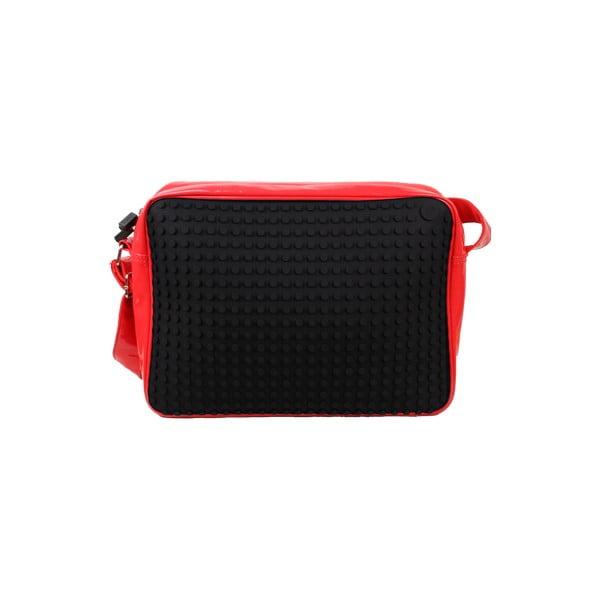Pixelová messenger taška, black/red