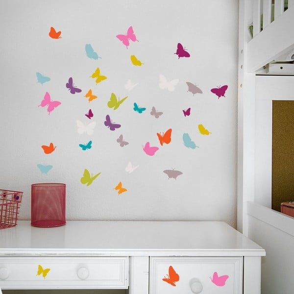Sada 18 nástěnných samolepek Butterflies