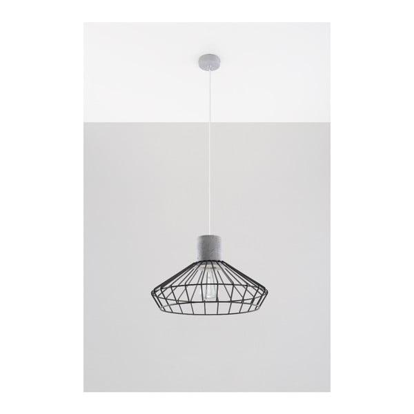 Šedočerné závěsné svítidlo s betonovou objímkou Nice Lamps Prato