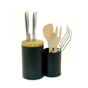 Černý blok na nože a kuchyňské náčiní Wireworks Knife&Spoon
