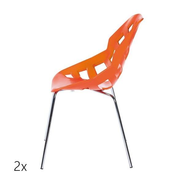 Set 2 tmavě oranžových židlí Ninja, chromové nohy