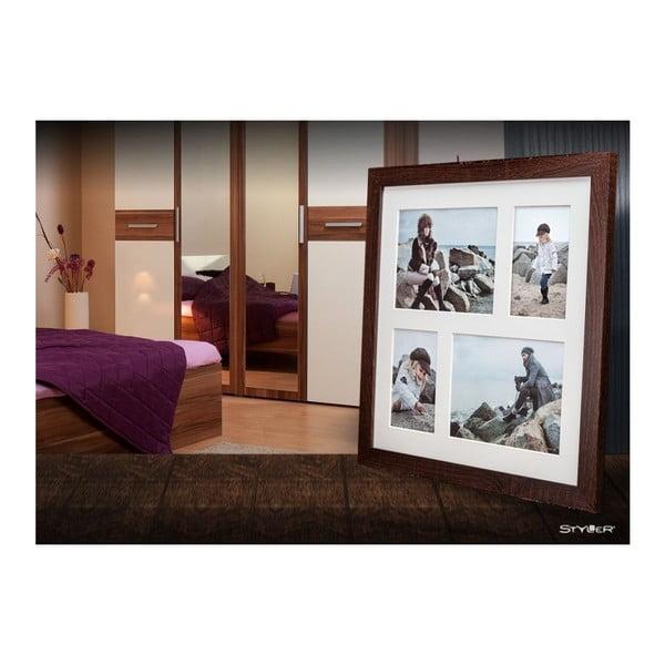 Tmavě hnědý rámeček na 4 fotografie Styler Narvik, 39x39cm