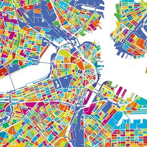 Tablou Homemania Maps Boston, 60 x 60 cm