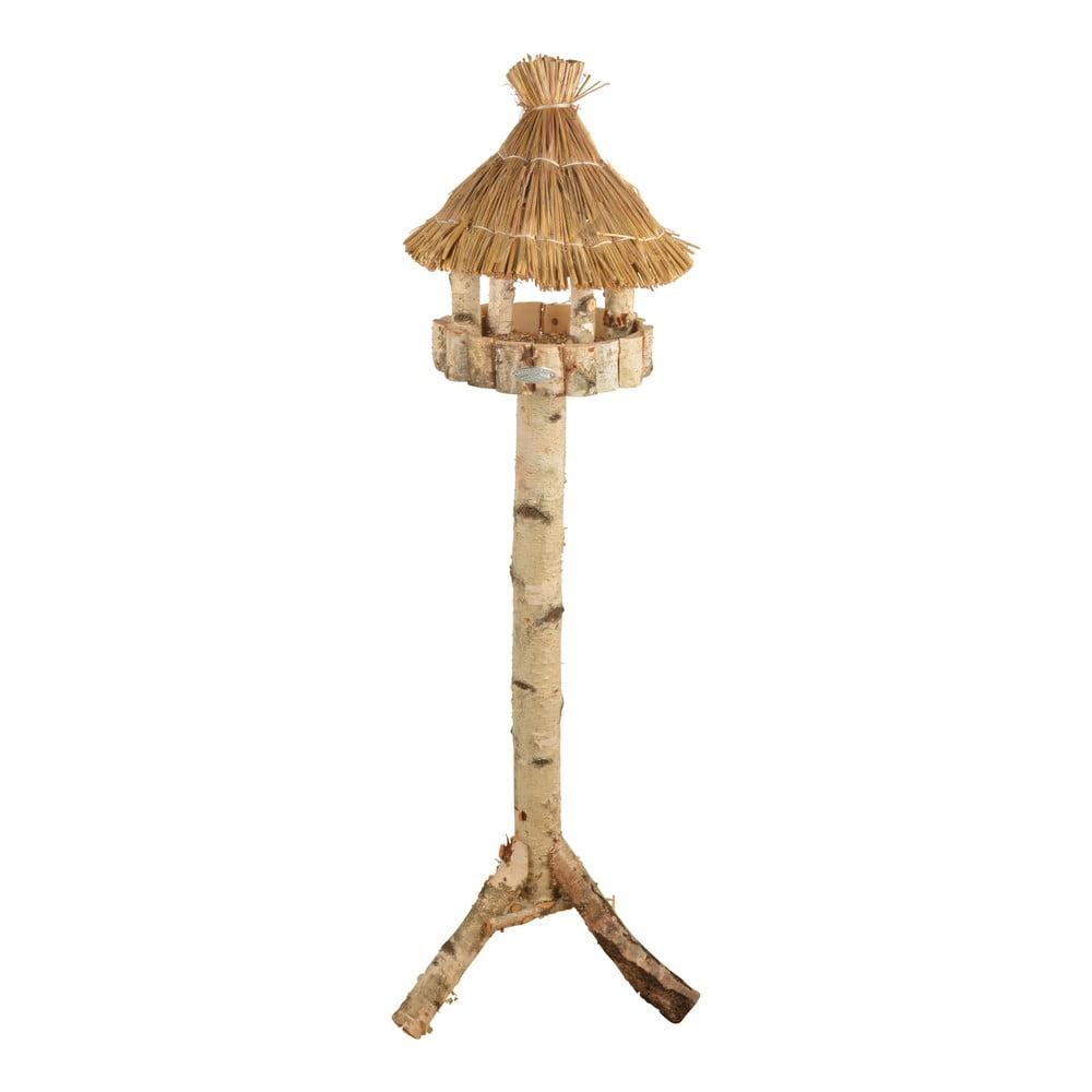 Dřevěné krmítko pro ptáky s rákosovou střechou na trojnožce Esschert Design, výška147cm