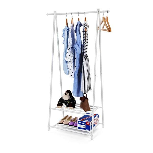Biały metalowy stojak na ubrania z 2 półkami Songmics