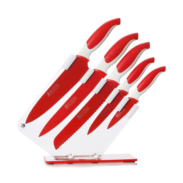 Sada s pěti červenými noži