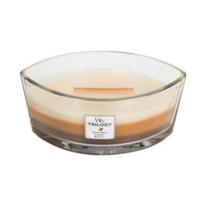Svíčka s vůní cukroví, vanilky a karamelu WoodWick Trilogy Dezert v kavárně, dobahoření80hodin