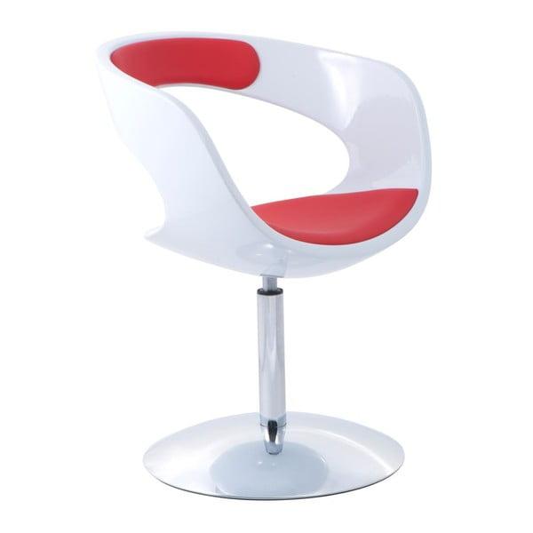Otočná židle Flop, bílá/červená
