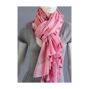 Růžový šátek s třásněmi