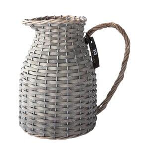 Skleněný džbán s proutím, šedý