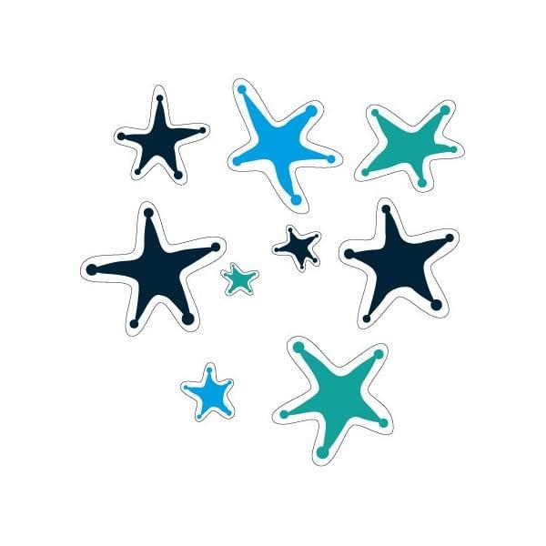 Elektrostatická samolepka Modré zdivočelé hvězdy, 2x9 ks