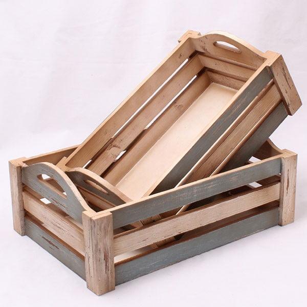 Sada dřevených přepravek Country, 2 ks