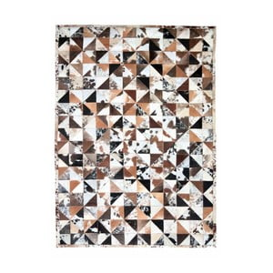 Bílo-hnědý koberec z hovězí usně Hide,240x170cm