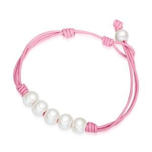 Dámský náramek růžový z pravé kůže s perlami Lucie& Jade Lili