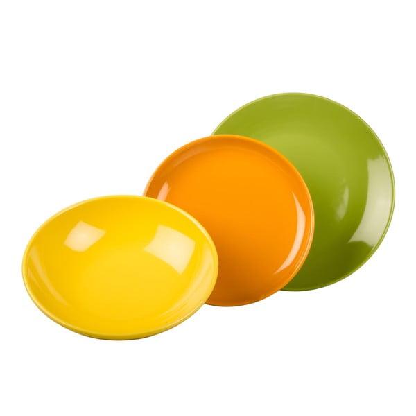 18dílná sada talířů Kaleidos, zeleno-oranžovo-žlutá