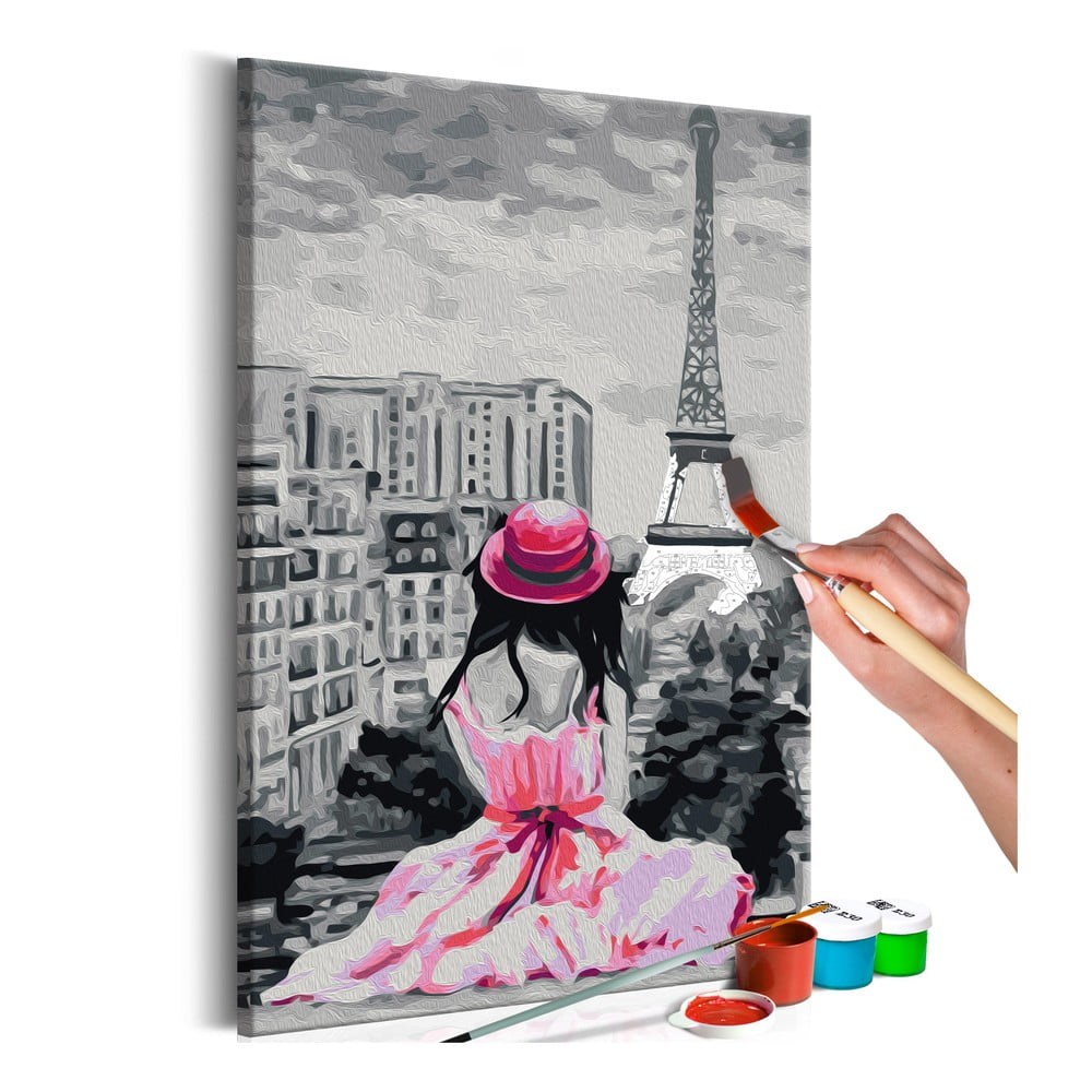 DIY set na tvorbu vlastního obrazu na plátně Artgeist Eiffel Tower View, 60x40 cm