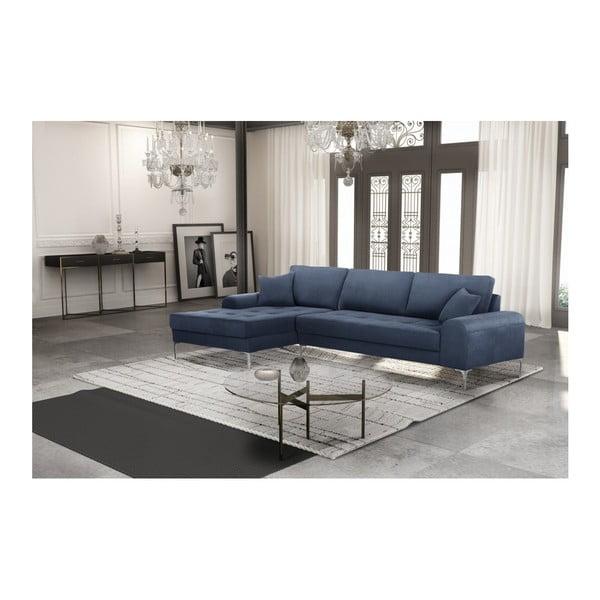 Set canapea albastru închis cu șezut pe partea stângă, 4 scaune gri-verde, o saltea 160 x 200 cm Home Essentials