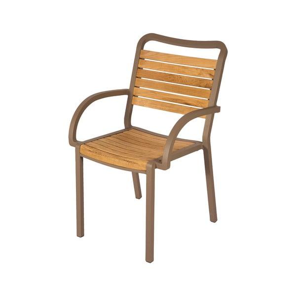 Sada 4 zahradních židlí z teakového dřeva s područkami Ezeis Typon