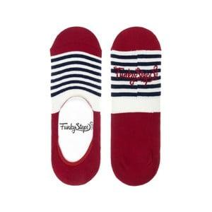 Červené nízké ponožky Funky Steps Stripes, velikost 39 – 45